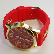 amazing deals on designer watches under £100 uk delivery cheeky ladies watch gold trim dial analogue red silicone chain he005 red