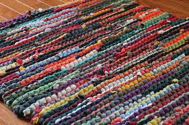 upcycled t shirt rag rug autumn brights red orange green navy t shirt rag rug weaving