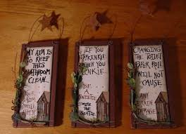 set of 3 new country primitive wood outhouse bathroom home decor signs so cute on primitive outhouse bathroom wall art set of 3 with primitive outhouse bathroom decor my web value