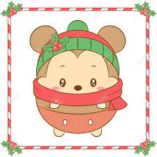 Merry Christmas Cute Mickey Mouse Drawing With Red Scarf And Christmas Hat  For Winter Season Royalty Free Cliparts, Vectors, And Stock Illustration.  Image 157639550.