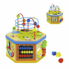 details about kid child activity cube toys baby educational wooden bead maze shape sorter