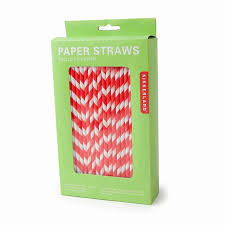 Kikkerland Biodegradable Paper Straws Red And White Striped Box