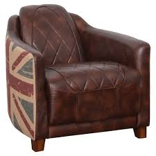 halo occasional chair vintage bonded leather brown union jack