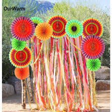 Flores De Mayo Design Us 23 08 23 Off Ourwarm 24pcs Paper Fan Mexican Party Decorations Cinco De Mayo Paper Flowers Wheel Disc Wedding Birthday Party Supplies In Party