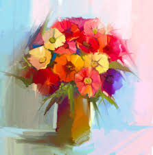 abstract art oil painting of spring flower artistic still life of bouquet yellow red color flora gerbera daisy and green leaf in vase