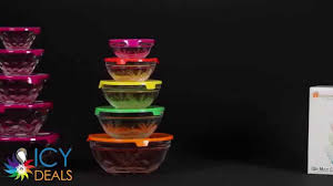 10 piece nesting glass bowl set with lids embossed icydeals