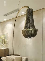 signature collection luxury grand scale chainmail chandelier floor lamp swarovski crystal elements stainless steel arm 360 degree rotation