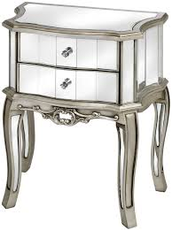 mirrored bedside table. hill interiors argente mirrored bedside table - 2 drawer s
