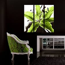 black white and lime green wall art