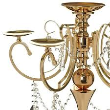 candle holder chandelier gold metal 5 arm candelabra chandelier votive candle holder centerpiece with crystal chains and