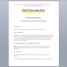 policy templates customer service standard policy template accessibility ontario