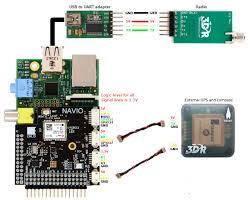 navio hardware setup for apm emlid external gps compass and radio over usb