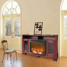 electric fireplace in mahogany