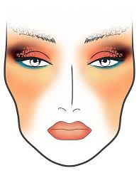 makeup facechart lipstick blueliner glittereyes