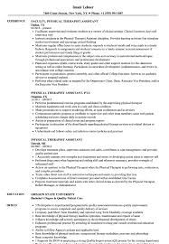 Physical Therapist Assistant Job Description For Resume Physical Therapist Assistant Resume Samples Velvet Jobs 8