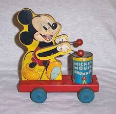 vintage fisher wood disney mickey mouse drummer 476 pull toy autumn antiques and collectibles ruby lane