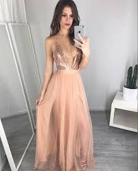 Formal Dress Pink V Neck Sequin Long Prom Dress Evening Dress