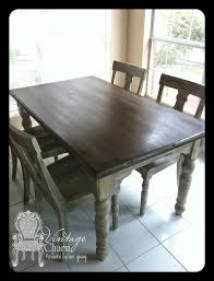 stained table top over chalk paint by vintage charm red