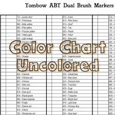 Tombow Abt Dual Brush Pens Color Chart 107 Colors