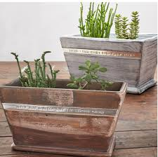 large wooden personalised planters
