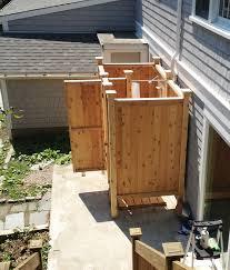 outdoor shower stall cedar free standing