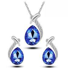 dark blue crystal teardrop crystal jewellery set stud earrings necklace s752