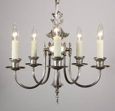 sold gorgeous antique silver plated five light chandelier c 1910