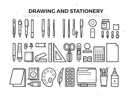 office drawing tools. Office Stationery And Drawing Tools Line Icons. Pencil Pen, Marker Paintbrush. P