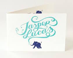 Printed Birth Announcement Letterpress Printed Folded Birth Announcement Cards