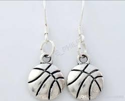antique silver finish chandelier plate orb singe side basketball sports earrings fish ear hook home improvement