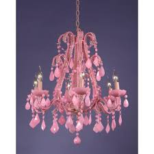 marie therese pink chandelier milky pink crystal 6 arm