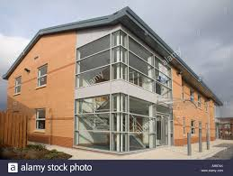glass exterior modern office. exterior of modern office block with glass reception i