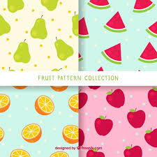Fruit Pattern Best Pack Of Four Patterns With Colored Fruits Vector Free Download