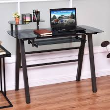 computer furniture home. Giantex Office Glass Top Computer Desk Modern PC Laptop Table Home Workstation Metal Frame With Printer Shelf Furniture HW54485-in Desks From O