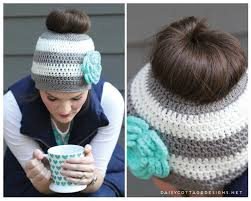 Free Crochet Hat Pattern With Ponytail Hole Custom Ponytail Hat Crochet PatternMessy Bun Hat Pattern Daisy Cottage