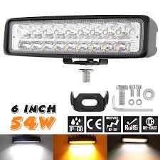 Đèn LED Xe Hơi 6 Inch 54W Trắng + Vàng LED Làm Đèn Thanh Chống Nước Đèn  Sương Mù Cho Lái Xe Offroad Thuyền xe Máy Kéo Xe 4X4 SUV Light Bar/Work  Light