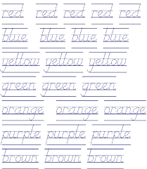 abcteach Printable Worksheet: D'Nealian: Color Words in Dotted Print