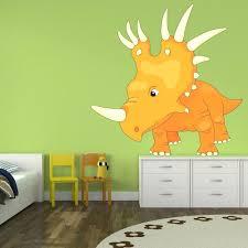 giant dinosaur wall decals dinosaur wall stickers orange triceratops wall  sticker dinosaur wall decal boys bedroom