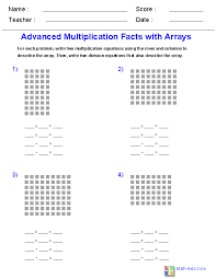 advanced multiplication facts with arrays worksheets