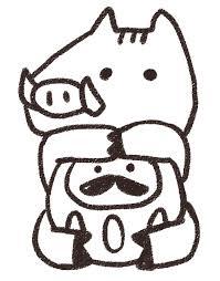ダルマを抱えた猪のイラスト亥年 ゆるかわいい無料イラスト素材集