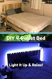 four pallet bed frame with side table