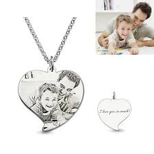 picture of personalized engraved heart photo necklace in 925 sterling silver