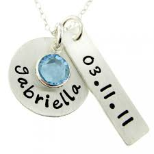 new mom personalized necklace hand stamped mommy birthstone jewelry nn003