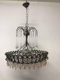 vintage italian murano glass crystal waterfall chandelier