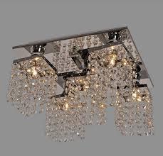 mordern re led crystal chandelier k9 crystal square flush mount ceiling lamp home lighting light fixture luminaire avize