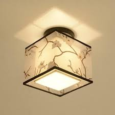 Bedroom Ceiling Lights Traditional Chinese Led Ceiling Light Lamp Hallway Bedroom Living Room Hotel Decorative Lights Fabric Lampshade Ceiling Lamp