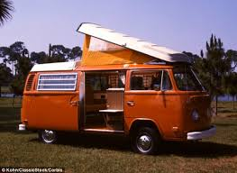 volkswagen van back. the iconic volkswagen westfalia camper (pictured here including an extendable roof) is about to van back