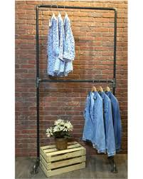 pipe clothing rack. Simple Pipe Clothes Rack Double Rail Clothing Garment Industrial Pipe  Storage Inside K