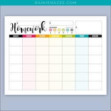 Homework Chart Printable Pdf Products