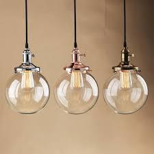 1 light glass pendant light modern ceiling lamp w clear glass shade chrome ring for